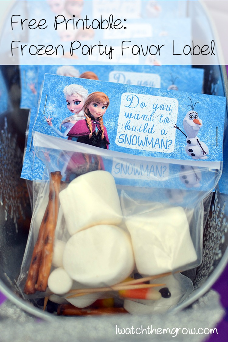 Do you want to build a snowman? Free Frozen party printable label for build-a-snowman kits - simple, affordable and adorable party favors!